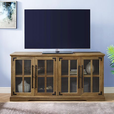 "Modern Farmhouse 4-Door TV Console for TV's up to 64"" - Reclaimed Barnwood - image 2 of 6"