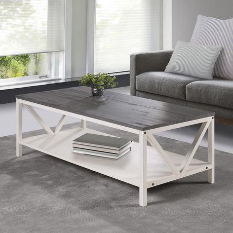 Distressed Rustic Modern Farmhouse Coffee Table Grey White Wash Walmart Canada