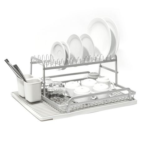 tada two tier dish rack with light grey silicone drying mat. Black Bedroom Furniture Sets. Home Design Ideas
