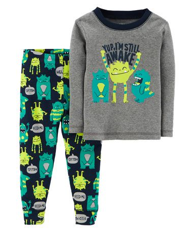 pyjama 2 pi ces pour b b coton garcon child of mine made by carter s monstre walmart canada. Black Bedroom Furniture Sets. Home Design Ideas