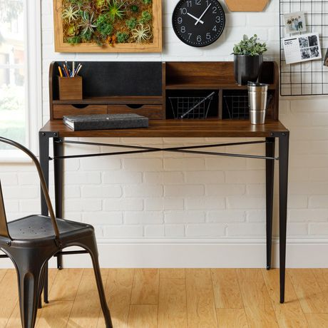 Industrial Secretary Writing and Computer Desk with Hutch - Dark Walnut - image 2 of 7