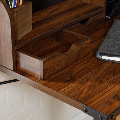 Industrial Secretary Writing and Computer Desk with Hutch - Dark Walnut - image 5 of 7