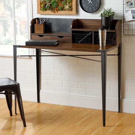 Industrial Secretary Writing and Computer Desk with Hutch - Dark Walnut - image 3 of 7