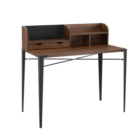 Industrial Secretary Writing and Computer Desk with Hutch - Dark Walnut - image 1 of 7