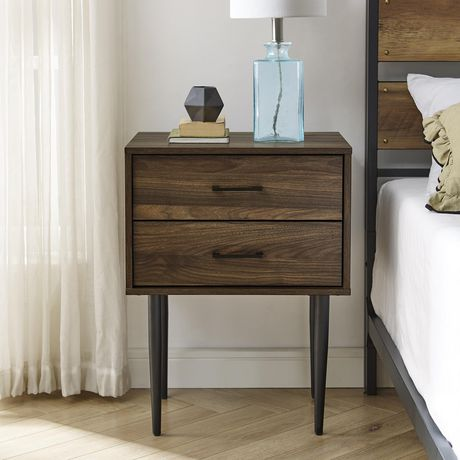 Modern 2 Drawer Nightstand and Side Table with Storage - Dark Walnut - image 2 of 7