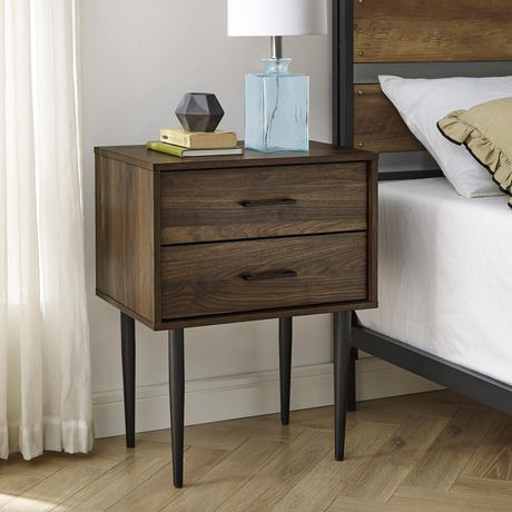 Modern 2 Drawer Nightstand and Side Table with Storage - Dark Walnut - image 1 of 7