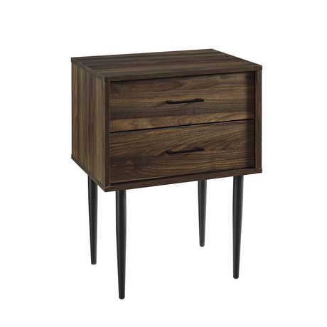 Modern 2 Drawer Nightstand and Side Table with Storage - Dark Walnut - image 3 of 7