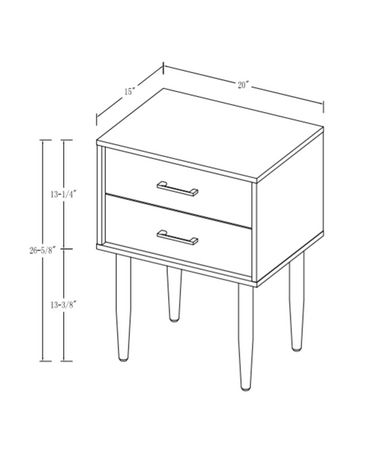 Modern 2 Drawer Nightstand and Side Table with Storage - Dark Walnut - image 6 of 7