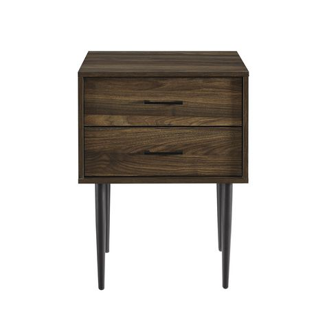 Modern 2 Drawer Nightstand and Side Table with Storage - Dark Walnut - image 4 of 7