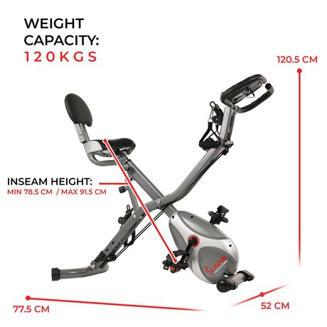 Sunny Health & Fitness Foldable Semi Recumbent Magnetic Upright Exercise Bike w/ Pulse Rate Monitoring, Adjustable Arm Resistance Bands And LCD Monitor - SF-B2710 - image 6 of 9
