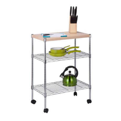 Honey Can Do 3 Tier Rolling Kitchen Cart With Wood Top