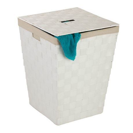 honey can do white woven hamper with lid walmart canada. Black Bedroom Furniture Sets. Home Design Ideas