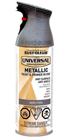 peinture tous surfaces fini m tallique rust oleum universal en acier fonc. Black Bedroom Furniture Sets. Home Design Ideas