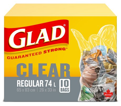 Glad Clear Garbage Bags - Regular 74 Litres - 10 Trash Bags - image 1 of 6