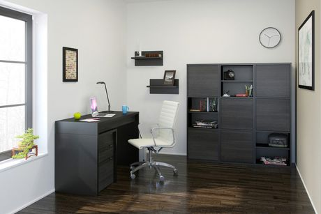 Nexera Sereni-T 2-Door Bookcase, Black And Ebony - image 4 of 5