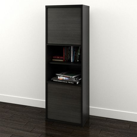Nexera Sereni-T 2-Door Bookcase, Black And Ebony - image 2 of 5