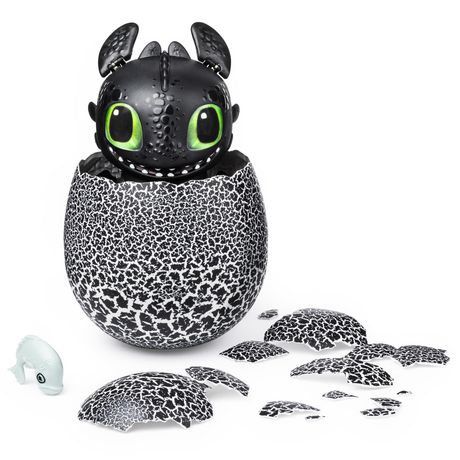 Black and white egg with Toothless the dragon hatching from it, made by DreamWorks Dragons