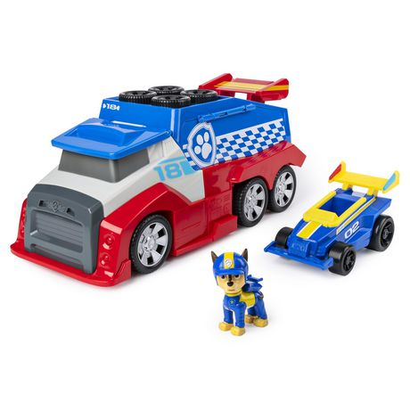 Blue and yellow plastic racecar and dog with red and blue race command centre from PAW Patrol