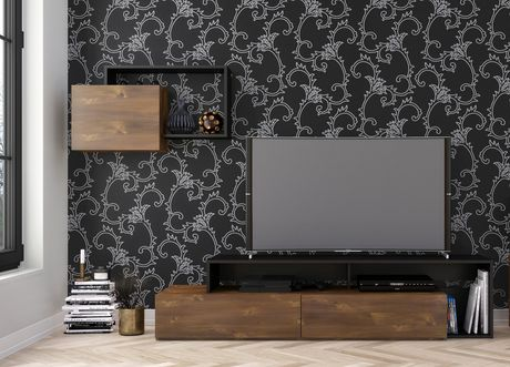 Nexera Paisley 72-inch TV Stand, Truffle And Black - image 3 of 4