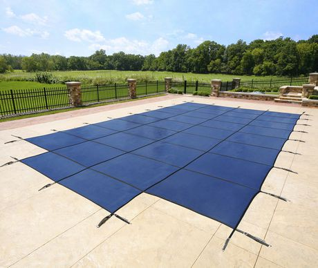 Blue wave 16 ft x 32 ft rectangular in ground pool safety cover w 4 ft x 8 ft center step for Swimming pool safety net covers