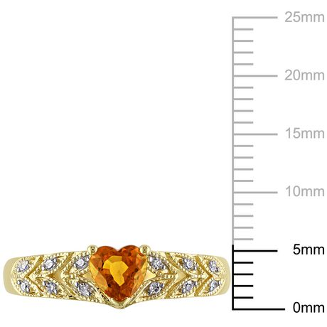 Tangelo 0.63 Carat T.G.W Yellow Sapphire and Diamond-Accent 10 K Yellow Gold Heart Ring - image 2 of 4