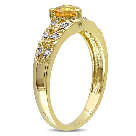 Tangelo 0.63 Carat T.G.W Yellow Sapphire and Diamond-Accent 10 K Yellow Gold Heart Ring - image 3 of 4