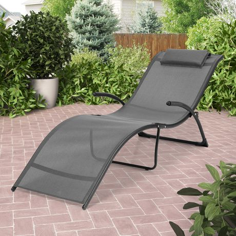 CorLiving Riverside Folding Black and Silver Grey Patio Lounge Chair - image 1 of 4 ... & CorLiving Riverside Folding Black and Silver Grey Patio Lounge Chair ...