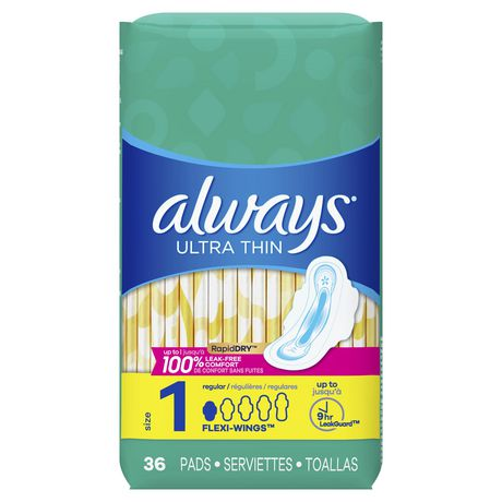 Always Ultra Thin Size 1 Regular Pads with Wings, Unscented - image 1 of 6