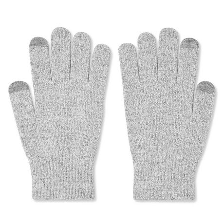 Knit two-tone grey gloves with texting fingertips, made by George