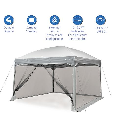 new concept 993c4 dbc27 Ozark Trail 11ft x 11ft Instant Canopy with Full Mesh Curtain