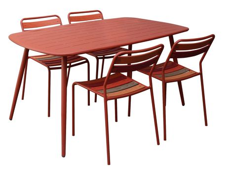 Sunjoy Seaside Laser Cut Galvanized Steel Table Patio Furniture