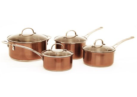 starfrit 8pc stainless steel with copper tone cookware set - Copper Cookware Set