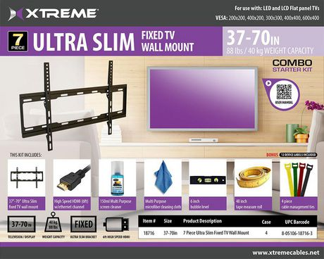 Xtreme 7 Pieces Ultra Slim Fixed TV Wall Mount - image 2 of 3