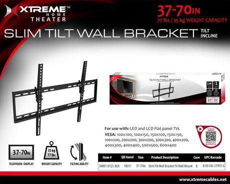 Xtreme 7 Pieces Flat Adjustable TV Wall Mount - image 2 of 3