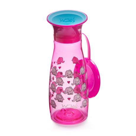Wow Cup® Mini 360⁰ Spill-Free Cup with Freshness Lid - 12oz - Pink Elephants - image 1 of 3