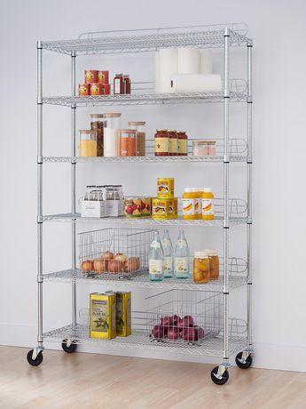 "TRINITY EcoStorage™ 6-Tier Wire Shelving Rack | 48"" X 18"" X 72"" | Nsf | Includes Wheels | Chrome - image 3 of 3"
