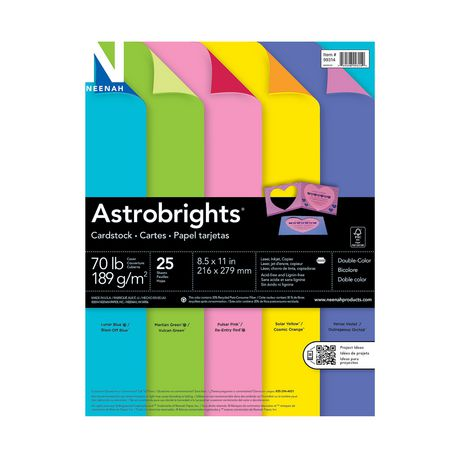 Astrobrights Double Colour Cardstock 25 Sheets Walmart Canada