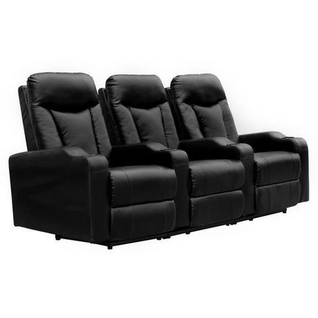 fauteuil inclinable lectrique 3 places en cuir noir coll. Black Bedroom Furniture Sets. Home Design Ideas