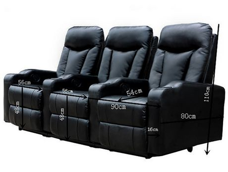 Prime Mounts Single Add-on Black Leather Manual Recliner Home Theatre Seat - image 5 of 6