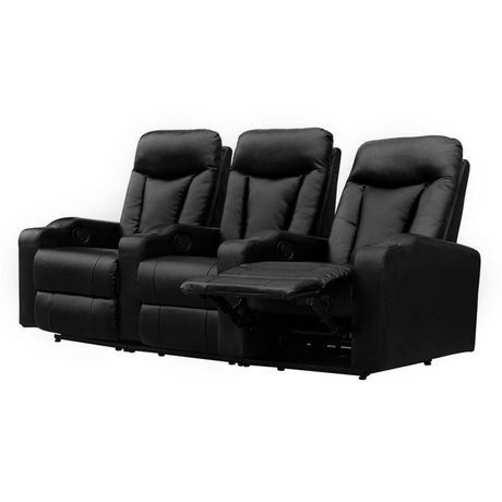 fauteuil inclinable manuel 3 places en cuir noir pour. Black Bedroom Furniture Sets. Home Design Ideas