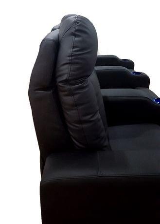 fauteuil inclinable lectrique 3 places en cuir noir avec del pour cin ma maison de prime mounts. Black Bedroom Furniture Sets. Home Design Ideas