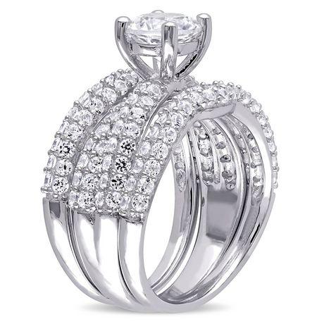 Miabella 4.21 Ct Created White Sapphire Sterling Silver Bridal Set - image 3 of 4