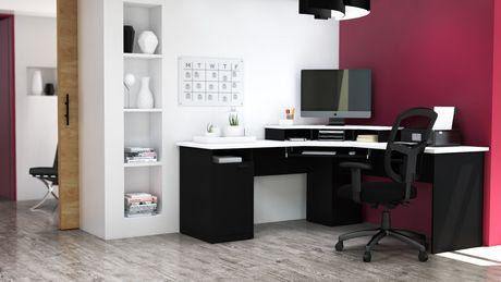 Bestar Hampton Bureau en coin - Noir et Blanc - image 2 de 6