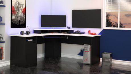 Bestar Hampton Bureau en coin - Noir et Blanc - image 3 de 6