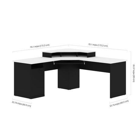 Bestar Hampton Bureau en coin - Noir et Blanc - image 4 de 6