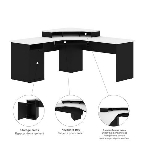 Bestar Hampton Bureau en coin - Noir et Blanc - image 5 de 6