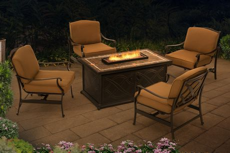 Sunjoy Heirloom Gas Fire Pit Deep Seating Set Patio Furniture