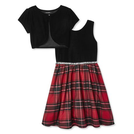 George Girls' Plaid Dress and Velour Bolero 2-Piece Set - image 1 of 2