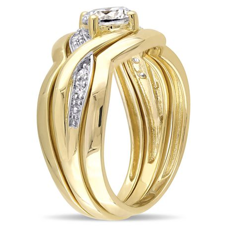 Miabella 1.50 Carat T.G.W Cubic Zirconia Yellow Rhodium-Plated Sterling Silver Bridal Set - image 2 of 5