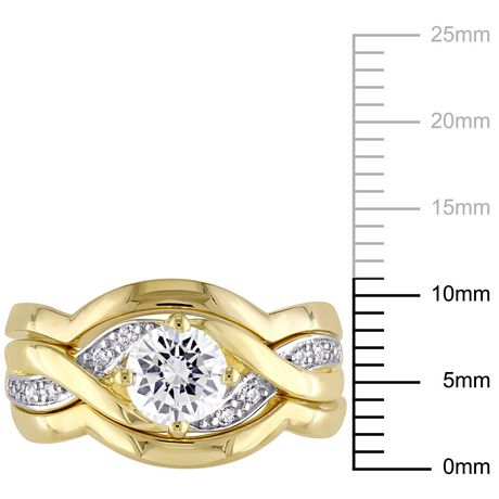 Miabella 1.50 Carat T.G.W Cubic Zirconia Yellow Rhodium-Plated Sterling Silver Bridal Set - image 3 of 5